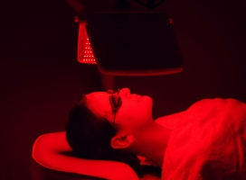 Young,Woman,Having,Red,Led,Light,Facial,Therapy,Treatment,In